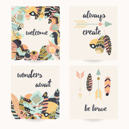 collection: Postcard design with inspirational quote and bohemian colorful feathers, vector illustration Illustration