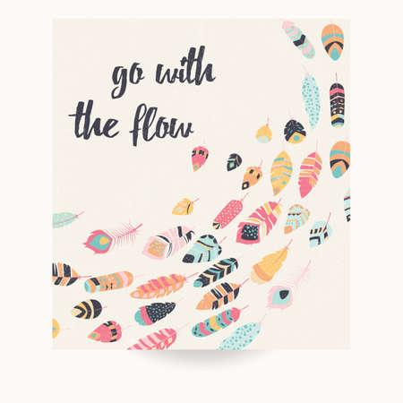 Postkaart ontwerp met inspirational citaat en bohemien kleurrijke veren, vector illustratie
