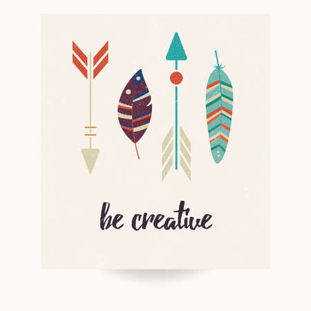postcard: Postcard design with inspirational quote and bohemian colorful feathers, vector illustration Illustration