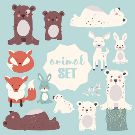 animals collection: Collection of cute forest and polar animals with baby cubs, including bear, fox, fawn and rabbit, vector illustration