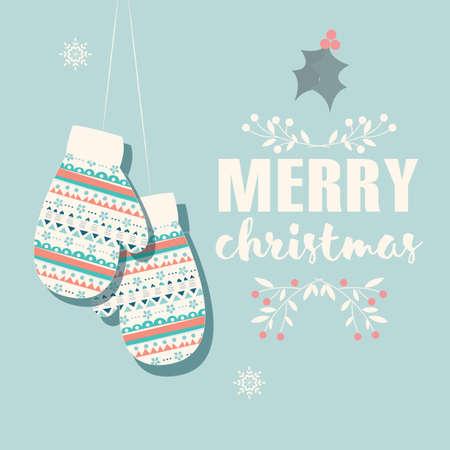 carte postale Joyeux Noël avec des mitaines et décoration illustration Vecteurs