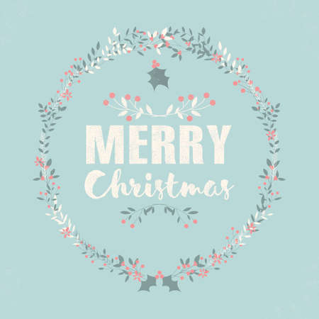 christmas postcard: Merry Christmas postcard with lettering and floral wreaths illustration