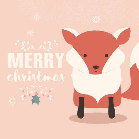 christmas postcard: Merry Christmas lettering postcard with cute orange baby fox illustration