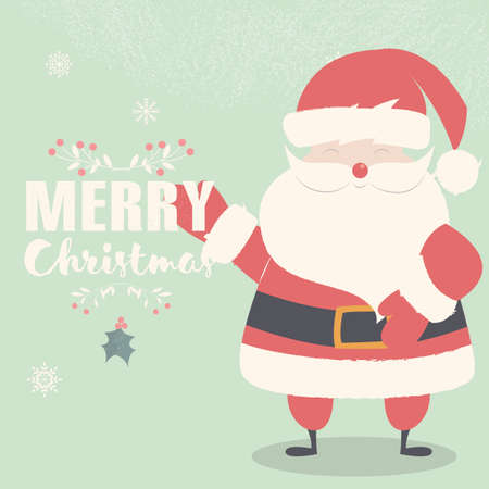 st  nicholas: Merry Christmas lettering postcard with smiling and waving Santa Claus illustration Illustration