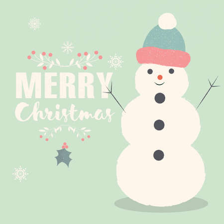 christmas postcard: Merry Christmas lettering postcard with smiling Snowman illustration Illustration
