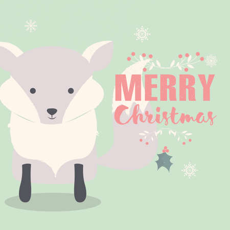 christmas postcard: Merry Christmas lettering postcard with cute polar baby fox illustration