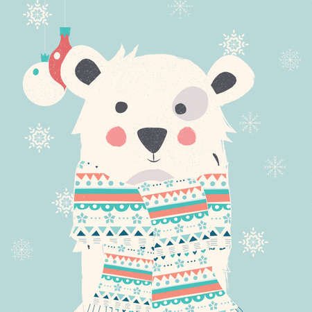 christmas postcard: Merry Christmas postcard with polar white bear wearing scarf illustration Illustration