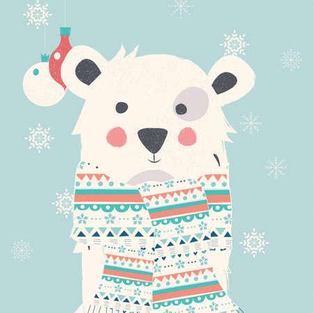 Merry Christmas postcard with polar white bear wearing scarf illustration Illustration