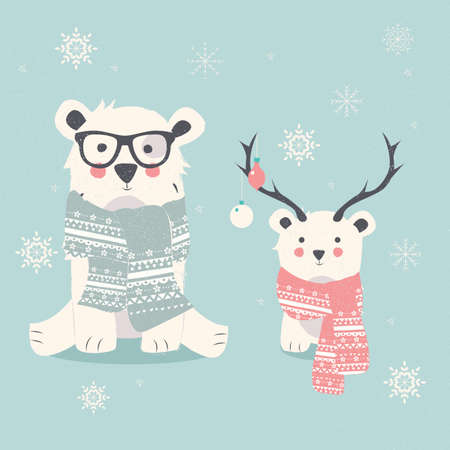 Merry Christmas postcard with two polar bears, hipster and cub illustration
