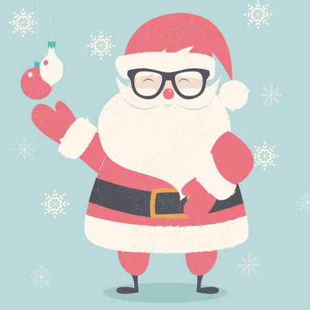 christmas postcard: Merry Christmas postcard with hipster Santa Claus wearing glasses illustration Illustration