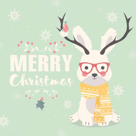 antlers: Merry Christmas postcard, hipster polar rabbit wearing glasses and antlers illustration