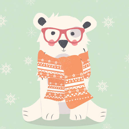Merry Christmas postcard with hipster polar white bear wearing scarf illustration Illustration