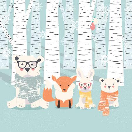 クマ、キツネ森イラストのウサギとメリー クリスマスはがき