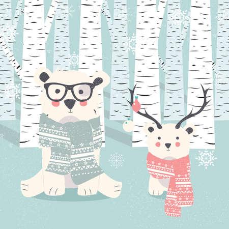 osos navideños: Postal de la Feliz Navidad con dos osos blancos polares en la ilustración del bosque Vectores