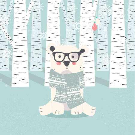 woodland: Merry Christmas postcard with hipster polar white bear in forest illustration