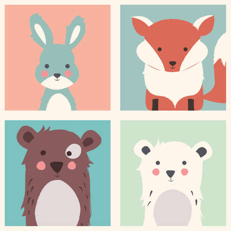 cubs: Collection of cute forest and polar animals with baby cubs, including bear, fox and rabbit illustration