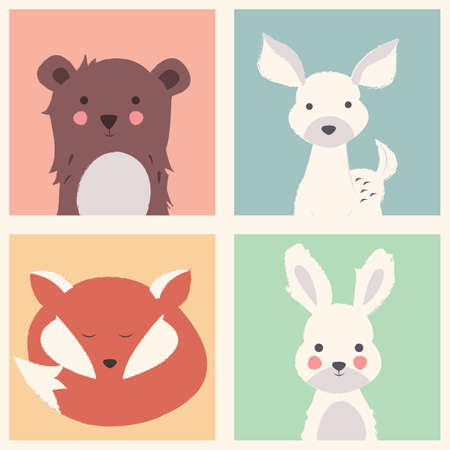 animals collection: Collection of cute forest and polar animals with baby cubs, including bear, fox, fawn and rabbit illustration