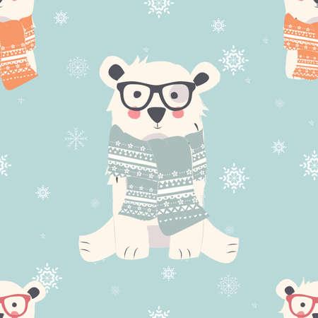 animal pattern: Seamless Merry Christmas patterns with cute polar bear animals, vector illustration