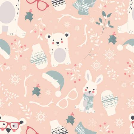 Naadloze Vrolijke Kerstpatronen met schattige polaire dieren, beren, konijnen, vectorillustratie