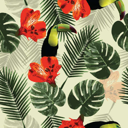 philodendron: Tropical seamless pattern with toucan parrot, flowers and palm leaves, vector illustration Illustration