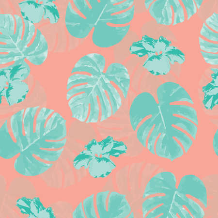 philodendron: Tropical seamless pattern with palm monstera leaves and flowers, vector illustration