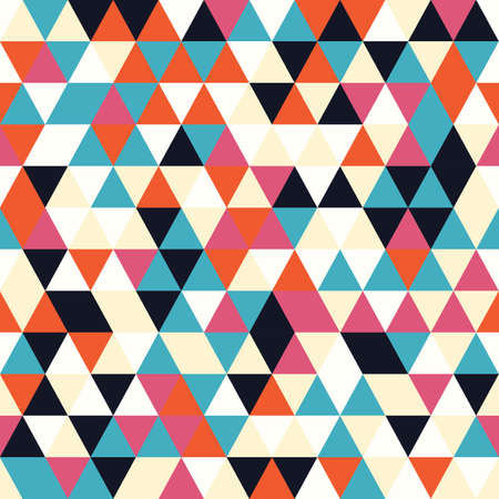 tessellate: Geometric seamless pattern with colorful triangles in retro design, vector illustration Illustration