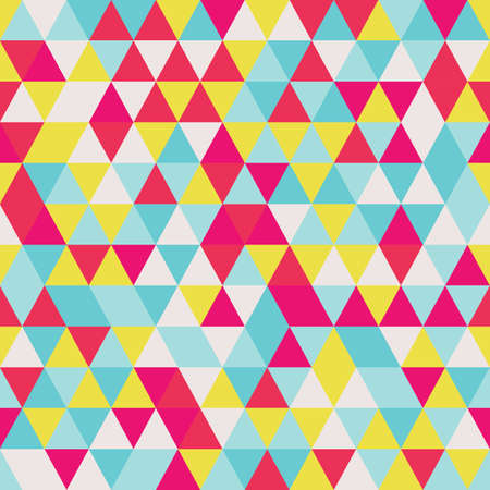 Geometric seamless pattern with colorful triangles in retro design, vector illustration Illustration