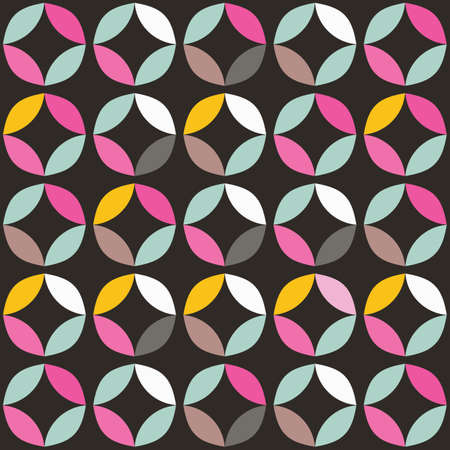 Geometric seamless pattern with colorful circles in retro design, vector illustration