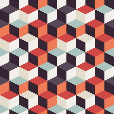 レトロなデザイン、ベクトル イラストのカラフルな正方形の幾何学的なシームレス パターン