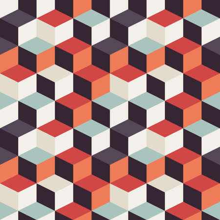 Geometric seamless pattern with colorful squares in retro design, vector illustration Stock Illustratie