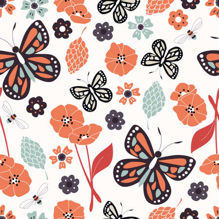 elements of nature: Seamless pattern with flowers, floral elements and butterflies, nature life Illustration
