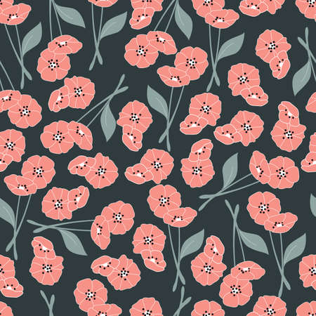 elements of nature: Seamless pattern with flowers and floral elements, nature life illustration