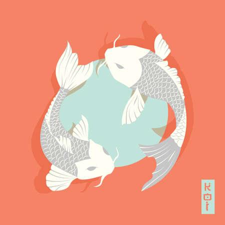 koi: Two carp koi fish swimming around Sun, traditional Japanese style, vector illustration Illustration