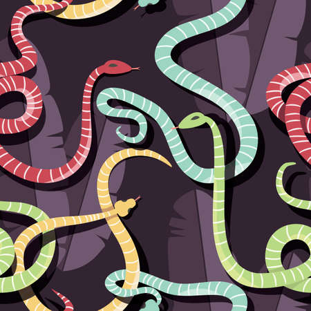 ophidian: Seamless pattern with colorful intertwined striped rain forest snakes, vector illustration