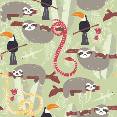 slither: Seamless pattern with cute rain forest animals, toucan, snake, sloth, vector illustration