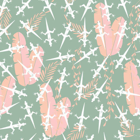 slither: Seamless pattern with cute green rain forest animal gecko lizard, vector illustration