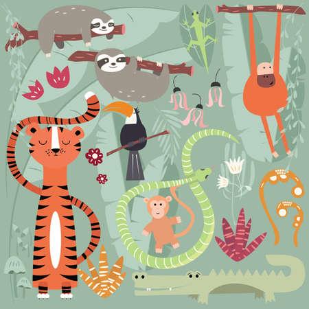 Inzameling van leuke regenwouddieren, tijger, slang, luiaard, aap, vectorillustratie