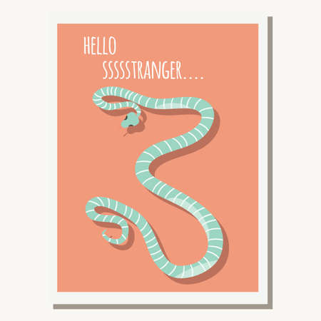 slither: Greeting card with cute blue striped snake and text message, vector illustration
