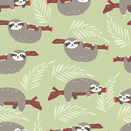 Naadloos patroon met leuke wildernisluiems op groene achtergrond, vectorillustratie Stock Illustratie