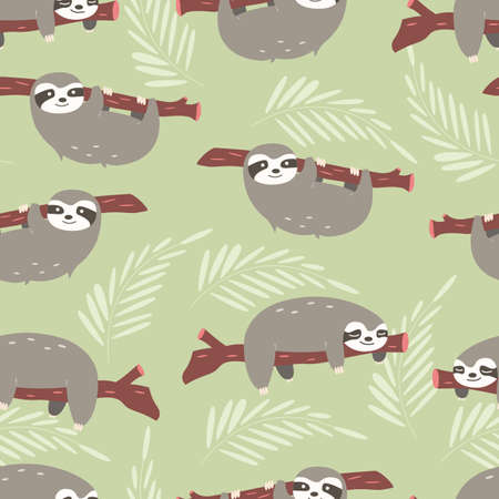 Seamless pattern with cute jungle sloths on green background, vector illustration Ilustração