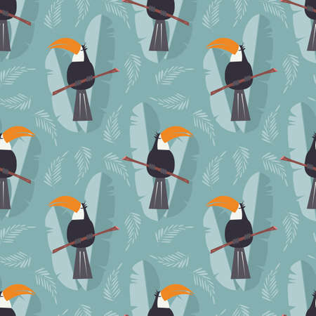 cute background: Seamless pattern with cute jungle parrot toucan on blue background, vector illustration Illustration