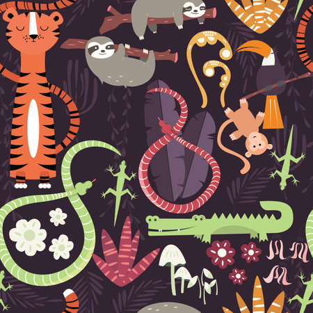 forest animals: Seamless pattern with cute rain forest animals, tiger, snake, sloth, vector illustration Illustration