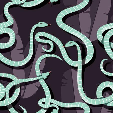 Seamless pattern con serpenti della foresta pluviale a strisce intrecciate colorate, illustrazione vettoriale
