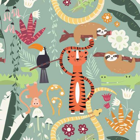 Naadloos patroon met schattige regenwoud dieren, tijger, slang, luiaard, vectorillustratie