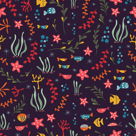 ocean plants: Seamless pattern with underwater ocean animals, cute fish and plants, colorful vector illustration Illustration