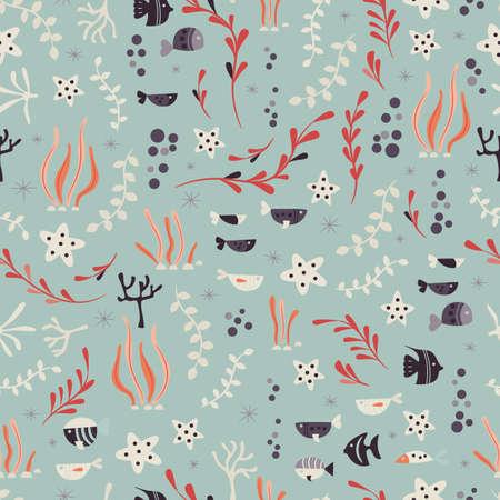 Modèle sans couture avec les animaux de l'océan sous-marin, poissons et plantes mignons, illustration vectorielle coloré