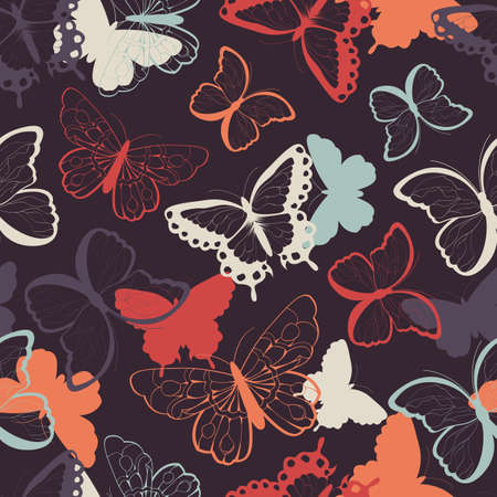 Seamless vector pattern with hand drawn colorful butterflies, silhouette vibrant, vector illustration Illustration