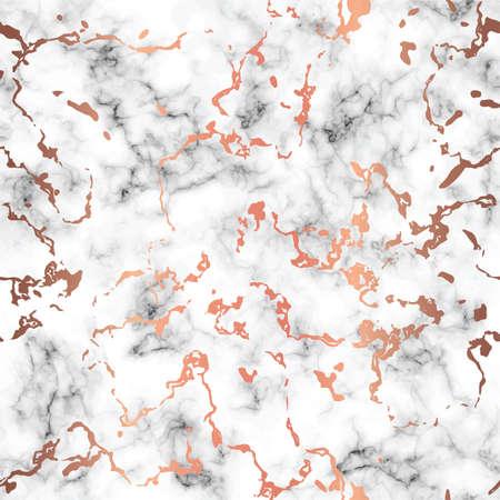 Vector design texture marbre avec éclaboussures de cuivre, surface marbrée noir et blanc, fond luxueux moderne, illustration vectorielle