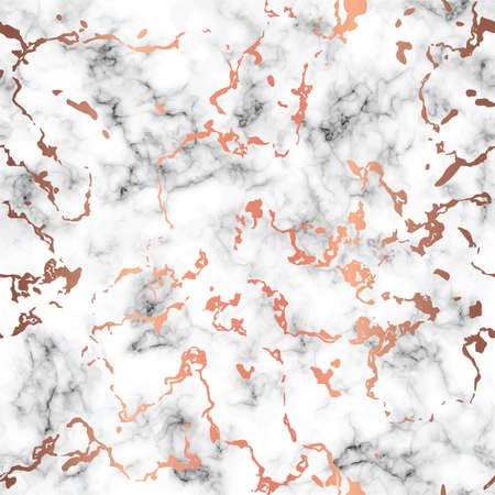 Vector marble texture design with copper splatter spots, black and white marbling surface, modern luxurious background, vector illustration Vettoriali