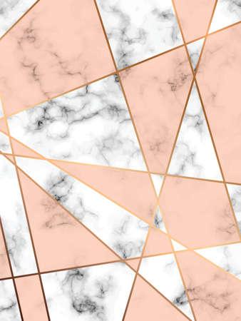 黄金の幾何学的なライン、黒と白の霜降り表面、近代的な豪華な背景、ベクトル図、ベクトル大理石のテクスチャ デザイン  イラスト・ベクター素材